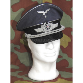 German WW2 Luftwaffe officer visor cap by Erel Robert Lubstein -wreath and cockade