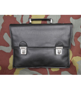German original NVA black leather documents bag case - USED