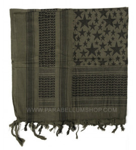 GREEN/BLACK SHEMAGH Scarf/shawl kefiah stars