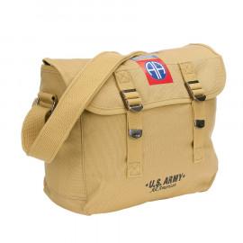 Canvas shoulder bag WW2 vintage 82nd Airborne M1936 musette bag 32X12X24 cm 10L