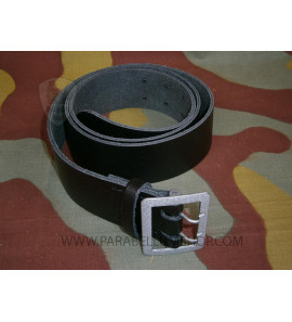Officer black leather belt