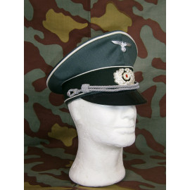 German WW2 Heer officer visor cap by Erel Robert Lubstein - metal wreath and cockade