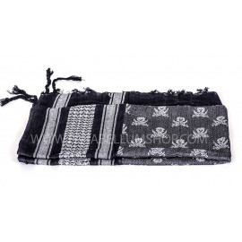 WH/BLACK SHEMAGH Scarf/shawl kefiah SKULL and swords pirate